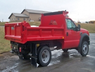 E-Tipper 3-4 yard body with optional straight cabshield, vertical side and tailgate braces and manual tarp.