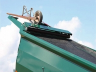 """Optional full weld-on cabshield has built-in accommodations for the tarp and is 40"""" in length to allow wheelbarrow storage using included tie down hooks."""